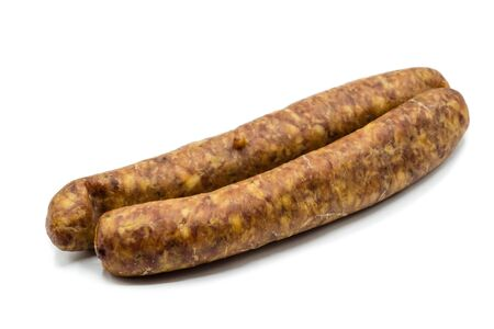 smoked sausage isolated on white background 版權商用圖片