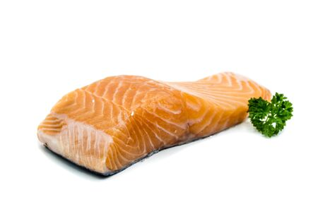 Raw salmon fillet isolated on white background 版權商用圖片