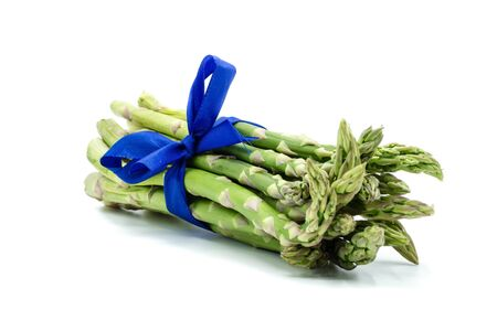 green Asparagus isolated on white background 版權商用圖片
