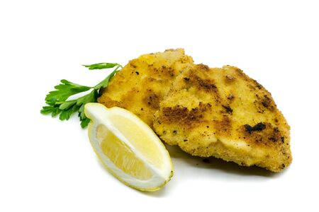 breaded schnitzel isolated on white background