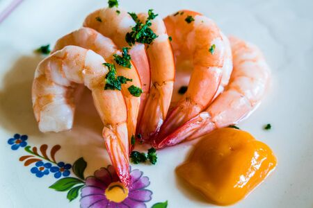plate with fresh prawns
