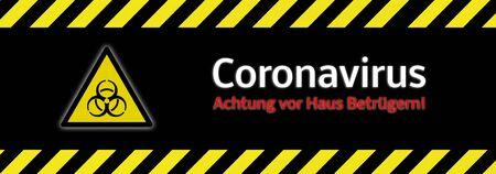 Banner Beware of house scammers! Corona virus in german