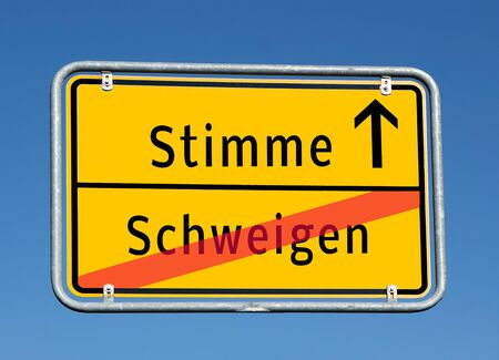 Town sign voice / silence in german