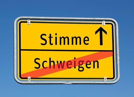 Ortsschildstimme / Stille auf Deutsch