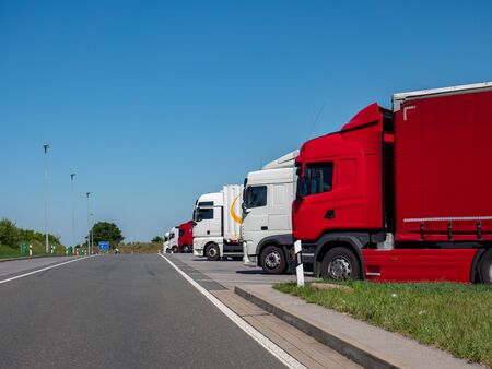 Truck at the rest area on the highway