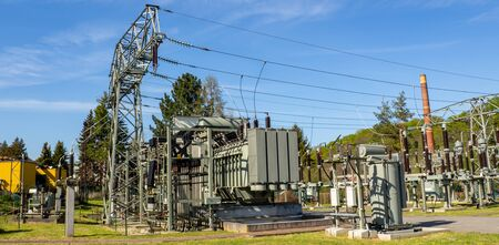 Panorama substation for electricity power supply green electricity