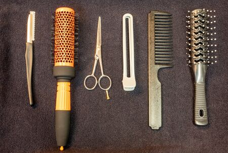 Tool in hairdressing craft background