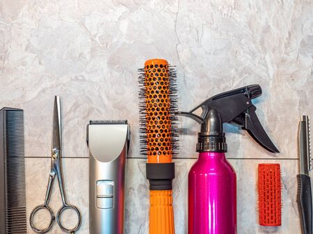 Tool in hairdressing craft background salon Stock fotó