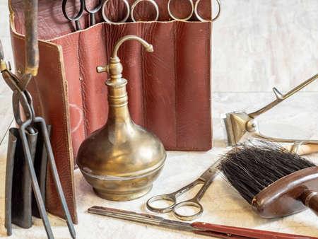 antique hairdresser tools of yesteryear Stock fotó