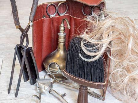 Antique hairdressing tool craft barber shop Stock fotó
