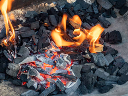 Charcoal embers fire grill texture