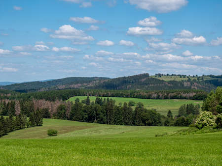 View over the Thuringian Forest mountains in eastern Germany
