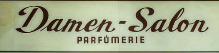Antique signboard ladies salon hairdresser in german