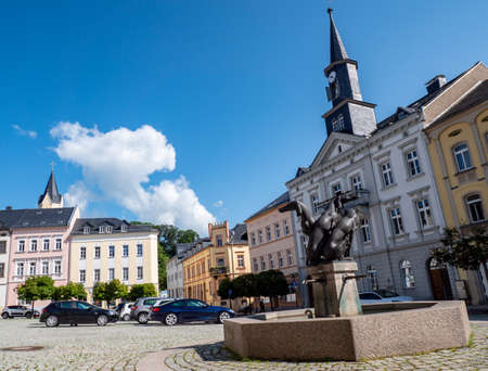 Market square with town hall of Bad Lobenstein in Thuringia