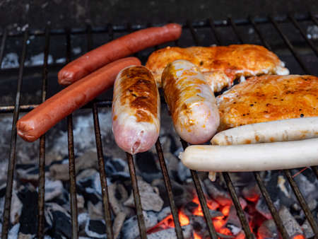 Barbecue range on the charcoal grill in the garden