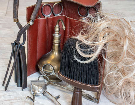 Barber tools craft hairdressing salon Archivio Fotografico