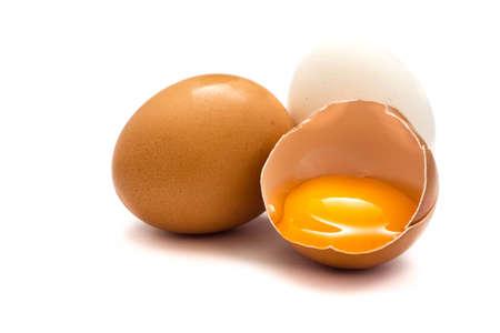 Raw eggs isolated on white background Stockfoto