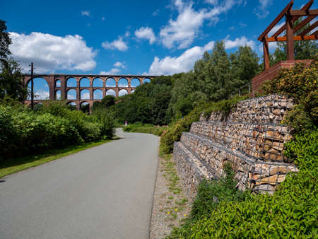 Goeltzsch Viaduct Vogtland East Germany with nature wall