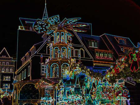 Erzgebirge Christmas East Germany neon style