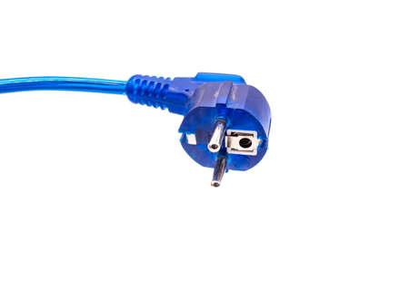 blue power plug isolated on white background