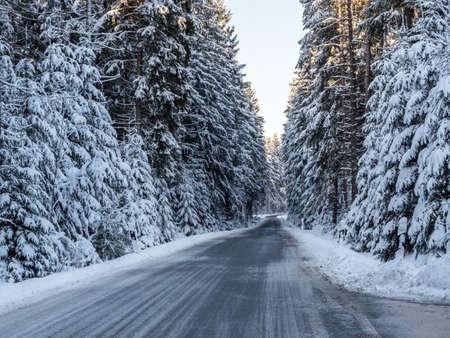 Dangerous road in winter landscape Standard-Bild