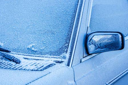 frozen car window in winter