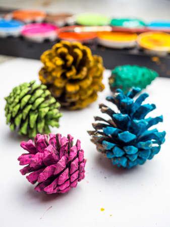 colorful autumn pine cone art background Standard-Bild