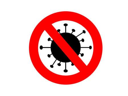 Prohibition Icon Viruses on White Background