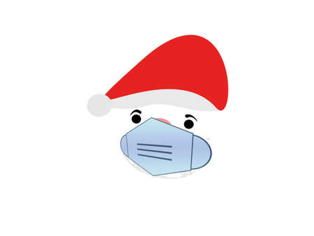 Santa Claus face with mask vector on white background