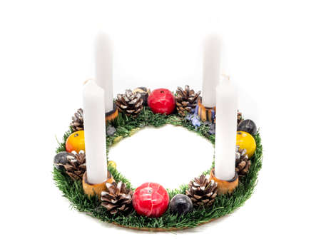 Advent wreath isolated on white background
