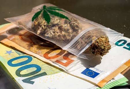Drug trafficking cannabis marijuana euro bills icon