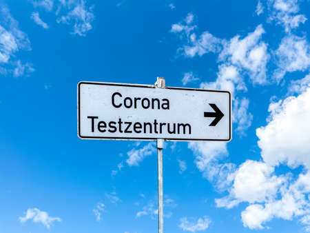 Information sign Corona test center in Germany