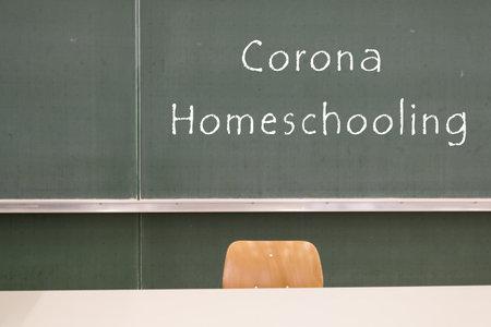 Word homeschooling on a green chalkboard
