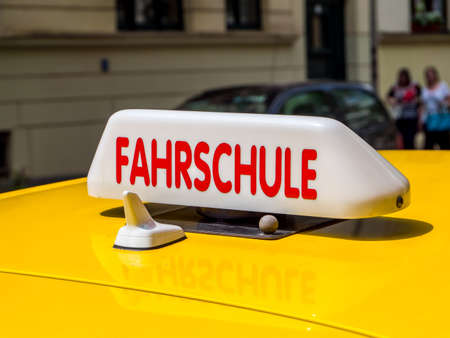 Driving School Sign On Car in german