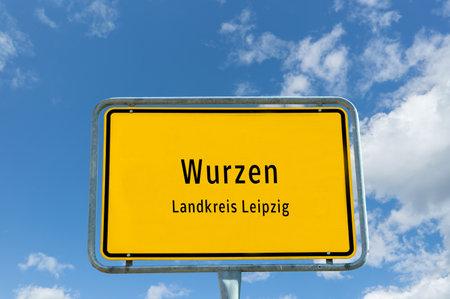 Entrance sign to Wurzen in Saxony