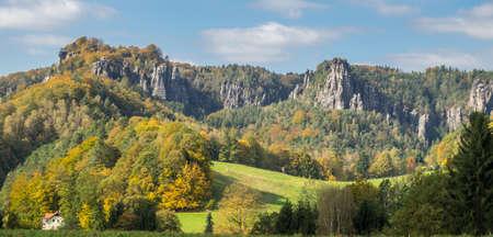 Elbe Sandstone Mountains, Saxon Switzerland National Park, Saxony, Germany 免版税图像
