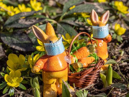 Easter holiday coronavirus symbolic Easter bunnies