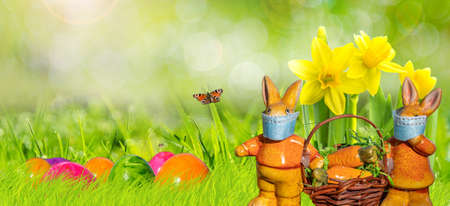 Panorama Easter banner with bunnies