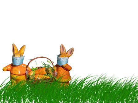 Rabbits with masks isolated on white background 免版税图像