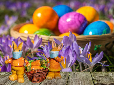 Colorful Easter eggs with bunnies 免版税图像