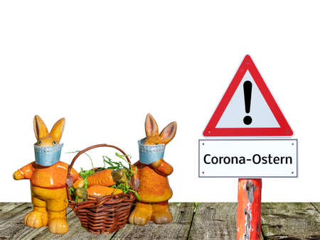 Corona Easter warning sign isolated on white background in german