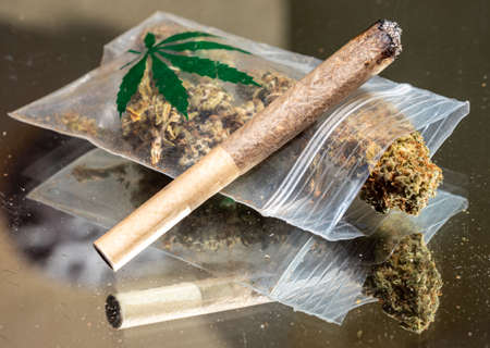 a bag of cannabis with a joint 免版税图像