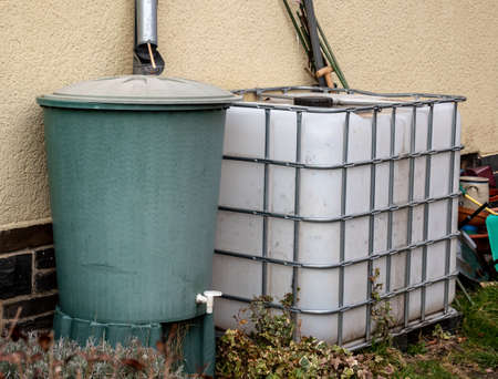 Rain barrels in the allotment garden
