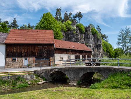 Village in Franconian Switzerland with rocks