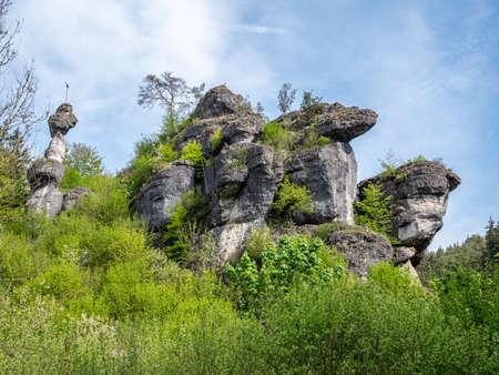 Rock formation in Franconian Switzerland in summer