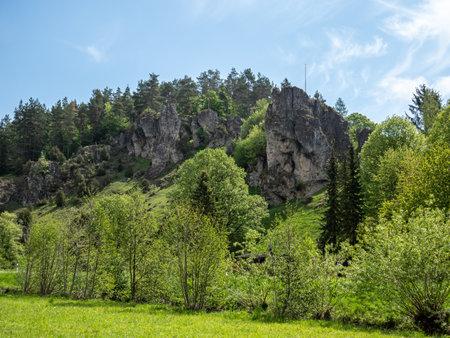 Rock formation in Franconian Switzerland 免版税图像