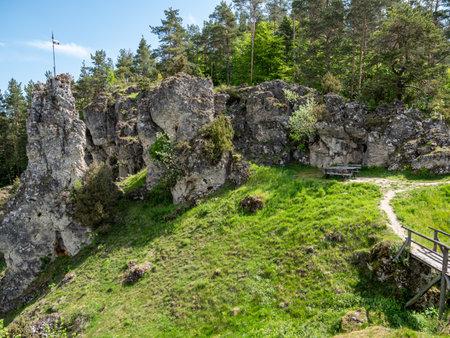 Rocky landscape in Franconian Switzerland 免版税图像