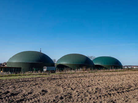 Biogas plant in Germany with blue sky