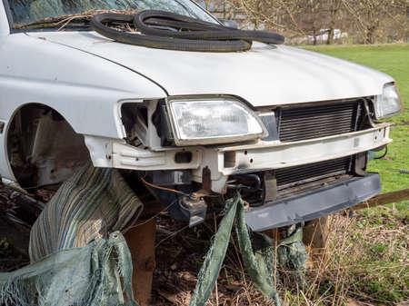 Accident vehicle in the workshop Standard-Bild