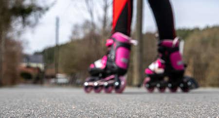 Panorama inline skating on asphalt Standard-Bild